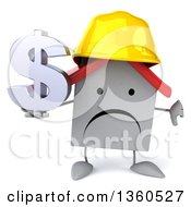 Clipart Of A 3d Happy White Contractor Home Character Wearing A Hardhat Giving At Humb Down And Holding A Dollar Currency Symbol On A White Background Royalty Free Illustration