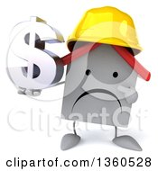 Clipart Of A 3d Happy White Contractor Home Character Wearing A Hardhat Holding And Pointing To A Dollar Currency Symbol On A White Background Royalty Free Illustration