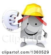 Clipart Of A 3d Happy White Contractor Home Character Wearing A Hardhat And Holding A Euro Currency Symbol On A White Background Royalty Free Illustration