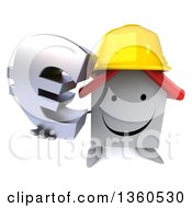 Clipart Of A 3d Happy White Contractor Home Character Wearing A Hardhat And Holding Up A Euro Currency Symbol On A White Background Royalty Free Illustration