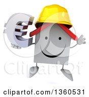 Clipart Of A 3d Happy White Contractor Home Character Wearing A Hardhat Jumping And Holding A Euro Currency Symbol On A White Background Royalty Free Illustration