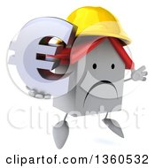 Clipart Of A 3d Unhappy White Contractor Home Character Wearing A Hardhat Jumping And Holding A Euro Currency Symbol On A White Background Royalty Free Illustration