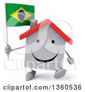 Clipart Of A 3d Happy White Home Character Holding A Brazilian Flag And Walking On A White Background Royalty Free Illustration