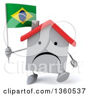 Clipart Of A 3d Unhappy White Home Character Holding A Brazilian Flag And Walking On A White Background Royalty Free Illustration