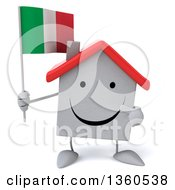 Clipart Of A 3d Happy White Home Character Holding And Pointing To An Italian Flag On A White Background Royalty Free Illustration