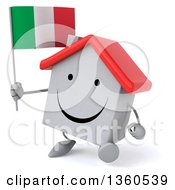 Clipart Of A 3d Happy White Home Character Holding An Italian Flag And Walking On A White Background Royalty Free Illustration
