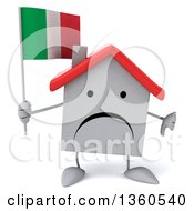 Clipart Of A 3d Unhappy White Home Character Holding An Italian Flag And Giving A Thumb Down On A White Background Royalty Free Illustration