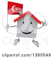 Clipart Of A 3d Happy White Home Character Holding A Turkish Flag And Jumping On A White Background Royalty Free Illustration