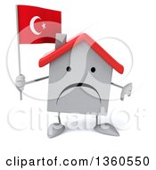 Clipart Of A 3d Unhappy White Home Character Holding A Turkish Flag And Giving A Thumb Down On A White Background Royalty Free Illustration