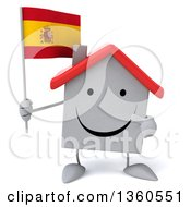 Clipart Of A 3d Happy White Home Character Holding And Pointing To A Spanish Flag On A White Background Royalty Free Illustration