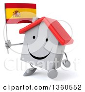 Clipart Of A 3d Happy White Home Character Walking And Holding A Spanish Flag On A White Background Royalty Free Illustration