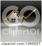 Clipart Of A 3d Yellow Arrow Over A Chrome House On A Gradient Background Royalty Free Illustration