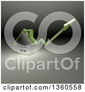 Clipart Of A 3d Green Arrow Over A Chrome House On A Gradient Background Royalty Free Illustration