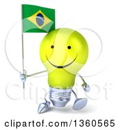Clipart Of A 3d Happy Yellow Light Bulb Character Holding A Brazilian Flag And Walking On A White Background Royalty Free Illustration