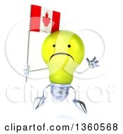 Clipart Of A 3d Unhappy Yellow Light Bulb Character Jumping And Holding A Canadian Flag On A White Background Royalty Free Illustration