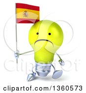 Clipart Of A 3d Unhappy Yellow Light Bulb Character Walking And Holding A Spanish Flag On A White Background Royalty Free Illustration