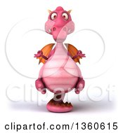 Clipart Of A 3d Pink Dragon Meditating On A White Background Royalty Free Illustration