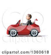 Clipart Of A 3d Young White Devil Businessman Driving A Red Convertible Car On A White Background Royalty Free Illustration