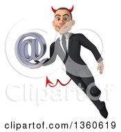 Clipart Of A 3d Young White Devil Businessman Flying And Holding An Email Arobase At Symbol On A White Background Royalty Free Illustration
