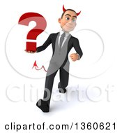 Clipart Of A 3d Young White Devil Businessman Holding A Question Mark And Speed Walking On A White Background Royalty Free Illustration