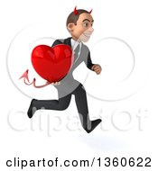 Clipart Of A 3d Young White Devil Businessman Holding A Heart And Sprinting On A White Background Royalty Free Illustration