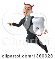 Clipart Of A 3d Young White Devil Businessman Holding A Tooth Pointing And Flying On A White Background Royalty Free Illustration