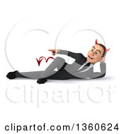 Clipart Of A 3d Young White Devil Businessman Resting On His Side And Pointing On A White Background Royalty Free Illustration