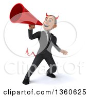 Clipart Of A 3d Young White Devil Businessman Using A Megaphone On A White Background Royalty Free Illustration