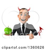 Clipart Of A 3d Young White Devil Businessman Holding A Green Apple Over A Sign On A White Background Royalty Free Illustration