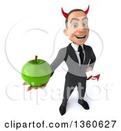Clipart Of A 3d Young White Devil Businessman Holding Up A Green Apple On A White Background Royalty Free Illustration