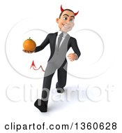 Clipart Of A 3d Young White Devil Businessman Holding A Navel Orange And Walking On A White Background Royalty Free Illustration