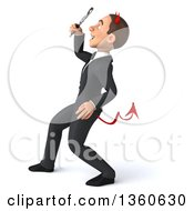 Clipart Of A 3d Young White Devil Businessman Searching With A Magnifying Glass On A White Background Royalty Free Illustration