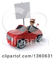 Clipart Of A 3d Young White Devil Businessman Wearing Sunglasses Holding A Blank Sign And Driving A Red Convertible Car On A White Background Royalty Free Illustration
