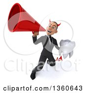 Clipart Of A 3d Young White Devil Businessman Holding A Tooth And Using A Megaphone On A White Background Royalty Free Illustration