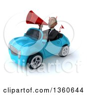 Clipart Of A 3d Young Black Devil Businessman Using A Megaphone And Driving A Blue Convertible Car On A White Background Royalty Free Illustration