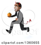 Clipart Of A 3d Young Black Devil Businessman Sprinting With An Orange On A White Background Royalty Free Illustration