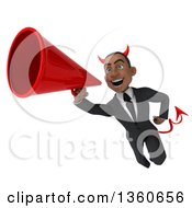 Clipart Of A 3d Young Black Devil Businessman Flying With A Megaphone On A White Background Royalty Free Illustration