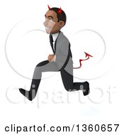 Clipart Of A 3d Young Black Devil Businessman Sprinting On A White Background Royalty Free Illustration