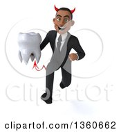 Clipart Of A 3d Young Black Devil Businessman Holding A Tooth And Sprinting On A White Background Royalty Free Illustration