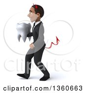 Clipart Of A 3d Young Black Devil Businessman Holding A Tooth And Walking On A White Background Royalty Free Illustration