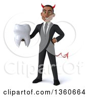 Clipart Of A 3d Young Black Devil Businessman Holding A Tooth On A White Background Royalty Free Illustration