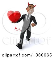 Clipart Of A 3d Young Black Devil Businessman Holding A Heart And Speed Walking On A White Background Royalty Free Illustration