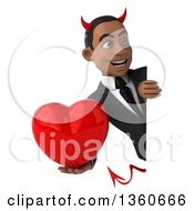 Clipart Of A 3d Young Black Devil Businessman Holding A Heart Around A Sign On A White Background Royalty Free Illustration