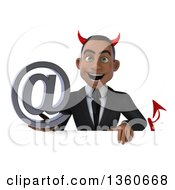 Clipart Of A 3d Young Black Devil Businessman Holding An Email Arobase At Symbol Over A Sign On A White Background Royalty Free Illustration