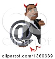 Clipart Of A 3d Young Black Devil Businessman Holding An Email Arobase At Symbol Around A Sign On A White Background Royalty Free Illustration