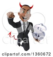 Clipart Of A 3d Young Black Devil Businessman Holding A Dollar Currency Symbol And Flying On A White Background Royalty Free Illustration