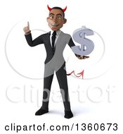 Clipart Of A 3d Young Black Devil Businessman Holding Up A Finger And A Dollar Currency Symbol On A White Background Royalty Free Illustration