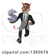 Clipart Of A 3d Young Black Devil Businessman Holding A Dollar Currency Symbol And Sprinting On A White Background Royalty Free Illustration