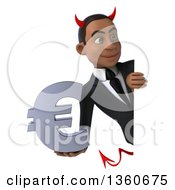 Clipart Of A 3d Young Black Devil Businessman Holding A Euro Currency Symbol Around A Sign On A White Background Royalty Free Illustration