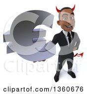 Clipart Of A 3d Young Black Devil Businessman Holding Up A Euro Currency Symbol On A White Background Royalty Free Illustration